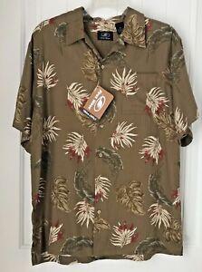 First Wave Mens Size 18  Shirt Brown Hawaiian Short Sleeve Button Front NEW