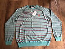 Mens New Aquascutum Striped Turquoise Crew Neck Cotton Sweater M BNWT RRP £125