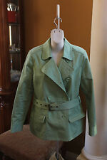 GAP JACKET SOLID GREEN WOMENS SIZE M TRENCH COAT EXCELLENT