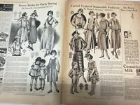 1922 WOMAN CHILD DRESS HAT FROCK STYLE FASHION SKIRT VINTAGE ART DECO 2 Page Ad