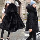 Womens Winter Hooded Jacket Ladies Warm Puffer Long Coat Parka Outerwear Coat UK
