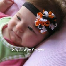 Halloween Round Dainty Korker Hair Bow Soft Headband Fits Preemie to Toddler