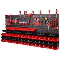 121 teiliges SET Lagersichtboxenwand Stapelboxen mit Montagewand Werkzeugwand