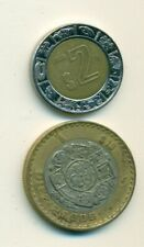 2 DIFFERENT BI-METAL COINS from MEXICO - 2 & 10 PESOS (BOTH DATING 2005)