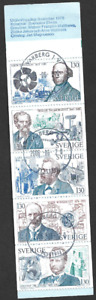 SWEDEN - 1976 Technical Pioneers - COMPLETE BOOKLET -  USED PANE OF 5.