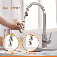 Brushed Nickel Kitchen Sink Faucet Pull Down Sprayer Swivel Spout Mixer Tap