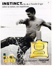 PUBLICITE ADVERTISING 023 1987   FABERGE  eau de toilette BRUT  INSTINCT  200213