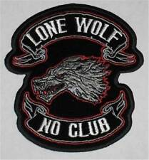 LONE WOLF NO CLUB  DELUXE BIKER PATCH  biker iron on