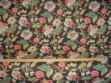 3+Y ROTH FABRIC ELIZABETH CORAL PINK / MINT / BROWN FLORAL DRAPERY FABRIC