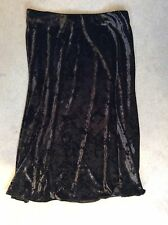 M&S BLACK VELOUR SKIRT IN A-LINE FLOWING STYLE WITH STRETCH - SIZE 12 -BRAND NEW
