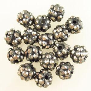 16Pcs 10mm Faceted Gray Titanium Crystal Round Ball Pendant Bead OJ85524