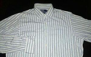 Men's Polo by Ralph Lauren Size 16 35 Curham Button Down Dress Shirt Striped