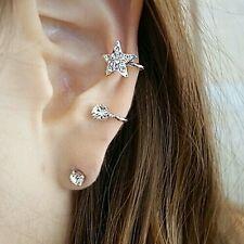 #1153 1 Pc Women's Fashion Silver Plated Rhinestone Ear Cuff Warp Clip Ear Stud