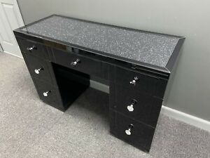 Diamond Crush Black Mirrored Glass 7 Drawer Dressing Table Crushed Crystals