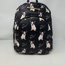 BETSEY JOHNSON Black FRENCH BULLDOG Dog LOGO Faux Leather BACKPACK Bag NWT