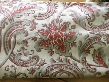 Antique French Acanthus Artichoke Floral Scroll Cotton Fabric ~ Red Blue Gray