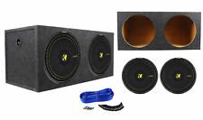 "(2) Kicker 44CWCD154 CompC 15"" 2400W Dual 4-Ohm Car Subwoofers+Sealed Sub Box"