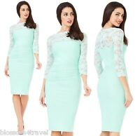 Goddess Mint Scalloped Lace Fitted Marcella Cocktail Evening Party Dress