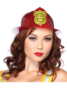 Adults Red Fireman Firefighter Chief Hat Costume Accessory