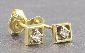Womens 14ct Yellow & White Gold Diamond Stud Earrings Pierced Ears Vintage