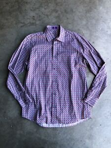 Liberty of London Geometric Shirt sz 16 Purple Pink Black