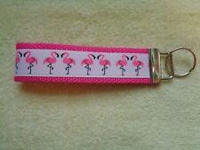 "Fun Hot/Bright Pink Flamingo 5"" Key Chain Fob Wristlet Hot Pink Webbing"
