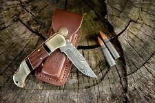 DAMASCUS Knife CUSTOM HANDMADE Forged HUNTING BOWIE WALNUT WOOD HANDLE SHIPS USA