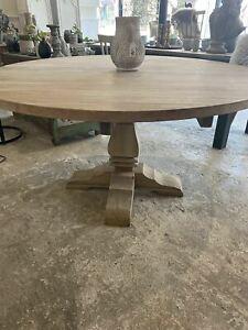 Large round pine pedestal table