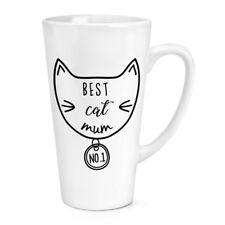Mejor gato mamá 17oz grande café con leche Taza Taza-Divertido Crazy Gato Dama Gatito