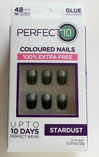 Perfect 10 Stardust False Nails With Glue 48 Pack Black Silver Glitter Tip