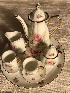 Vintage Victorian Miniature Porcelain Rose Gold Child Tea Set 10 Pieces China