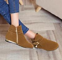 Womens Winter Warm Round Toes Flats Heel Back Zips Shoes Faux Suede Ankle Boots