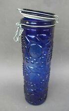 Bocal en verre bleu 1,5 l décor en relief pour spaghettis ou décoration neuf