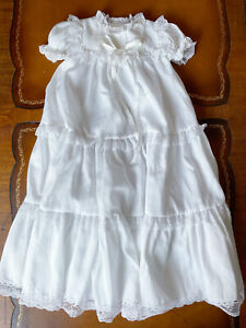 Vintage Bryan Baby Infant White Tiered Lace Ruffles Long Blessing Dress Sz 6 Mo