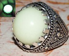 SILVER arabic 925 sterling silver men ring Natural green lightning in dark stone