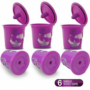 6 - Purple Refillable Reusable Single K-Cups Filter Pod for Keurig Coffee Makers
