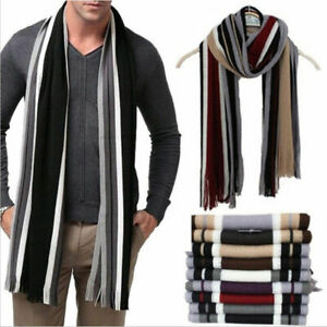 Mens Cashmere Scarf Warm Soft Fringe Striped Tassel Long Shawl Wrap Winter UK