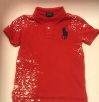 NWT Polo Ralph Lauren Boys Distressed Cotton Mesh Polo Shirt Red Big Pony Size 5