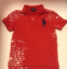 Polo Ralph Lauren Boys Distressed Cotton Mesh Polo Shirt Red Big Pony Size 5