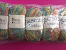 Flamingo knitting / crochet Spaghetti, Ribbon yarn. Multicoloured. 5 x 100g.
