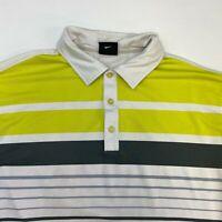 Nike Golf Dri-Fit Polo Shirt Men's Large Short Sleeve White Striped Poly Blend
