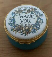 Kingsley Enamels.Thank You Flowers Worcestershire England.Hinged Trinket Box
