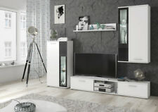 White Living Room Furniture Set Tv Unit Display Stand Wall Mounted Cupboard LEDs