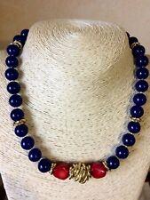 Collana donna pietre naturali: giada blu e pietra rosso corallo.Anelli zigrinati