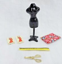 Dollhouse Miniature Lot Dress Form Sewing Supplies Fabric Patterns Scissors