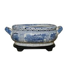 Unique Blue & White Porcelain Foot Bath Basin Chinese Blue Willow