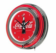 100 Anniversary Sign Coca Cola Logo Game Room Chrome Double Ring Neon Wall Clock