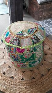 Bohemian Vintage Embroidered Pouf Ottoman Footstool Cover Indian Round Ottoman