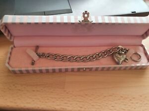 Juicy Couture Silver chunky T-Bar Starter Bracelet With Heart & J Charms - Boxed