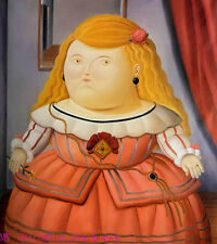 "Art Repro oil painting:""Fernando Botero Portrait at canvas"" 24x36 Inch #026"